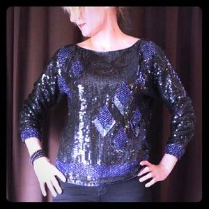 Tops - Vintage 80's full sequin and beads top